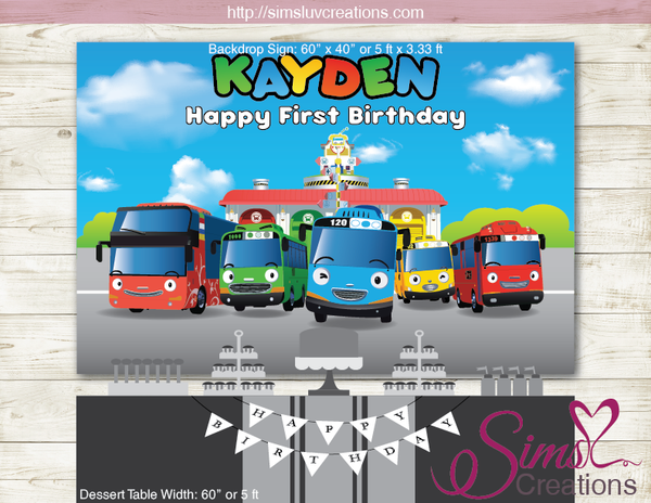 TAYO THE LITTLE BUS PRINTABLE BACKDROP BANNER | TAYO BIRTHDAY BACKDROP