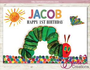 THE VERY HUNGRY CATERPILLAR PRINTABLE PARTY BACKDROP BANNER | BIRTHDAY POSTER
