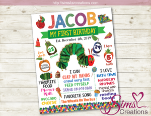 THE VERY HUNGRY CATERPILLAR BIRTHDAY MILESTONE BOARD | PARTY CHALKBOARD POSTER