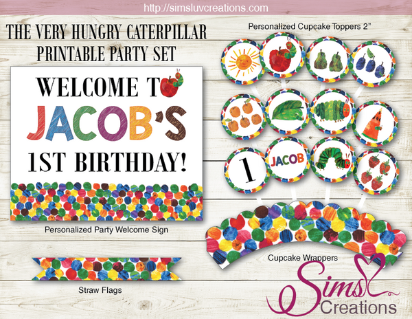 THE VERY HUNGRY CATERPILLAR BIRTHDAY PARTY DECORATION KIT | PARTY PRINTABLES