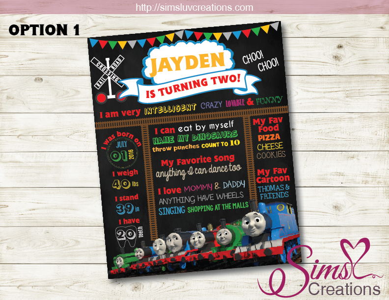 THOMAS AND FRIENDS BIRTHDAY MILESTONE BOARD | TRAIN PARTY CHALKBOARD POSTER