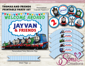 graphic about Free Printable Thomas the Train Cup Cake Toppers called THOMAS AND Good friends Bash Package CHOO CHOO Practice Celebration