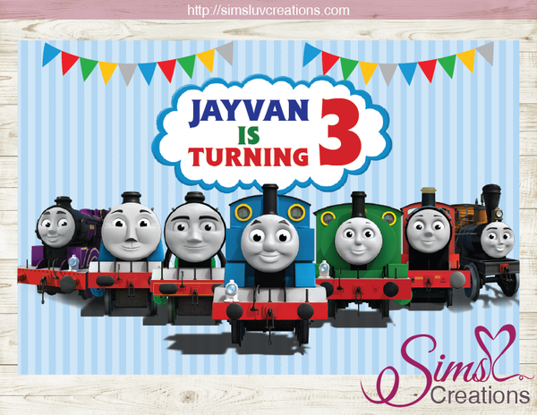 THOMAS AND FRIENDS PRINTABLE BACKDROP BANNER | TRAIN BIRTHDAY POSTER
