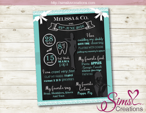 TIFFANY THEME MILESTONE BOARD | TIFFANY BIRTHDAY CHALKBOARD POSTER
