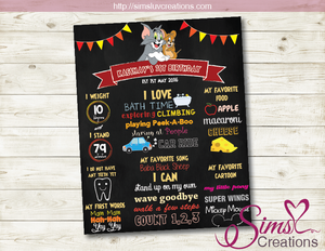 TOM AND JERRY MILESTONE BOARD | TOM & JERRY BIRTHDAY CHALKBOARD POSTER
