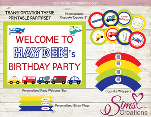TRANSPORTATION PARTY DECORATION KIT | ALL ABOARD PARTY PRINTABLES