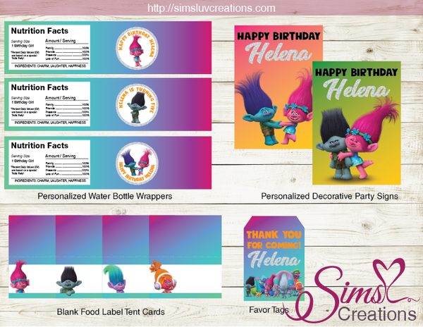 TROLLS BIRTHDAY DECORATION KIT | PARTY PRINTABLES