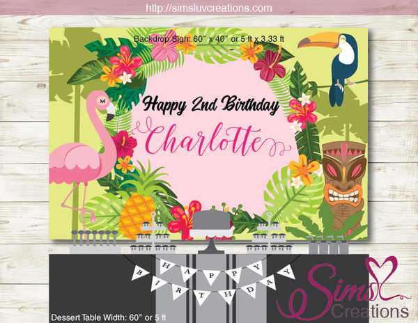 TROPICAL FLAMINGO PARTY BACKDROP BANNER | HAWAII LUAU BIRTHDAY POSTER