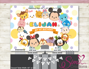 TSUM TSUM PRINTABLE BACKDROP BANNER | DISNEY TSUM TSUM PARTY POSTER