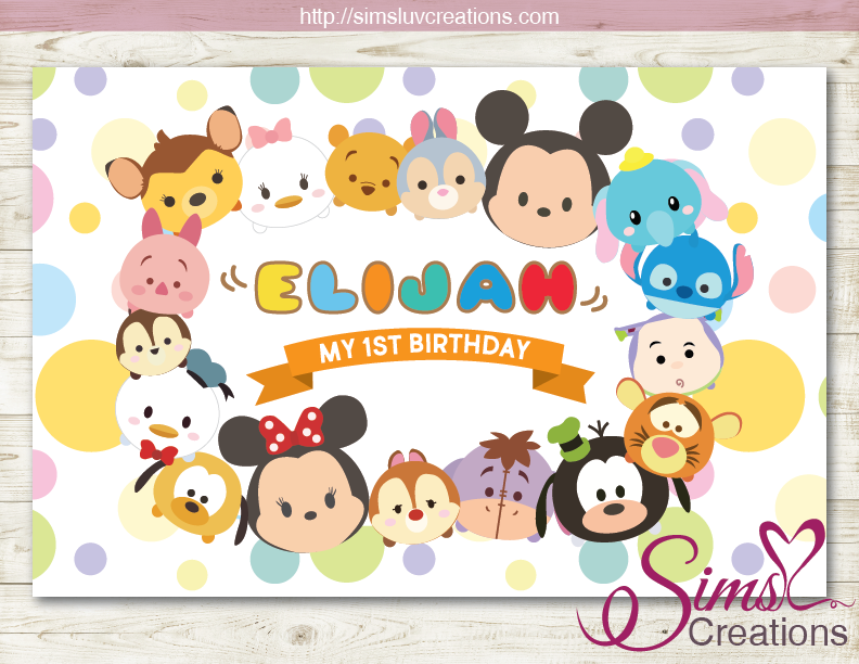 tsum tsum printable backdrop banner disney tsum tsum party poster sims luv creations sims luv creations
