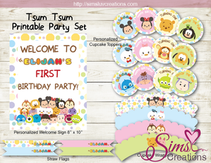 TSUM TSUM BIRTHDAY PARTY KIT | TSUM TSUM DECORATION PARTY PRINTABLES