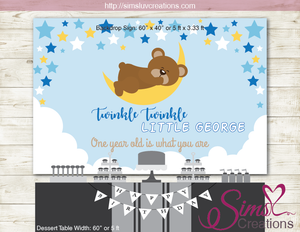 TWINKLE TWINKLE LITTLE STAR PRINTABLE BACKDROP BANNER | TEDDY BEAR BIRTHDAY POSTER