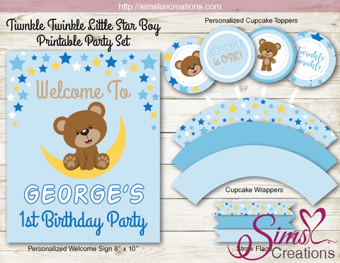 TWINKLE TWINKLE LITTLE STAR PARTY DECORATION SUPPLIES | TEDDY BEAR PARTY PRINTABLES