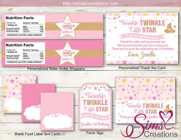 TWINKLE TWINKLE LITTLE STARS PARTY KIT | GIRL PARTY DECORATION PRINTABLES