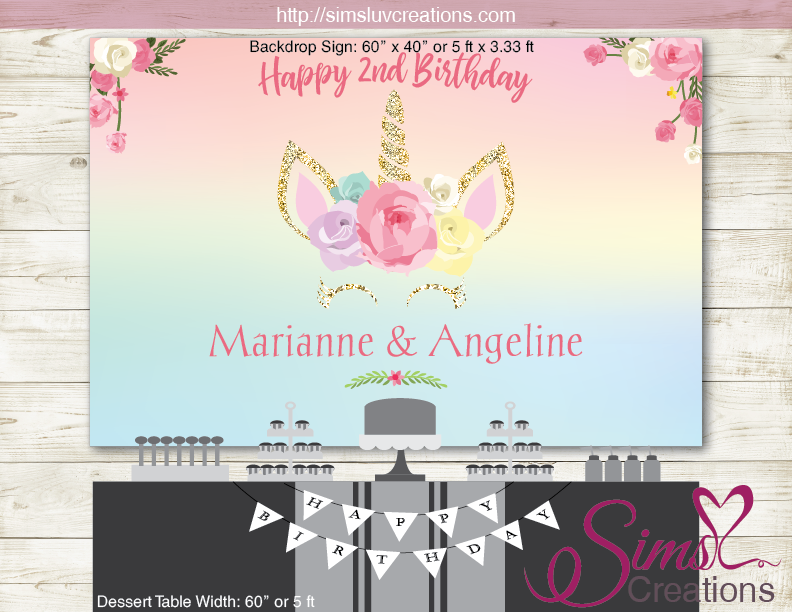 Unicorn Party Backdrop Banner Birthday Poster Sims Luv