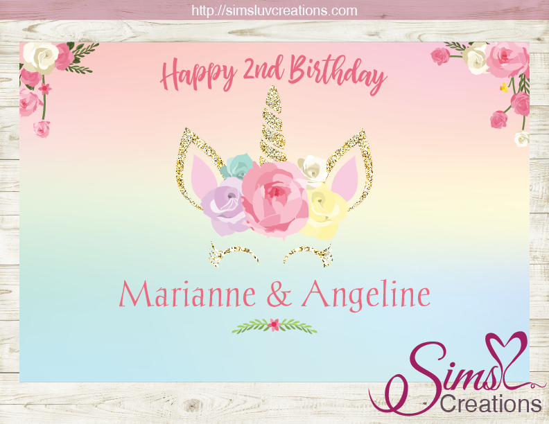 UNICORN PARTY BACKDROP BANNER | BIRTHDAY POSTER - Sims Luv ...