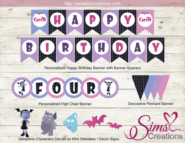 VAMPIRINA PARTY DECORATION KIT | VAMPIRINA BIRTHDAY PRINTABLES