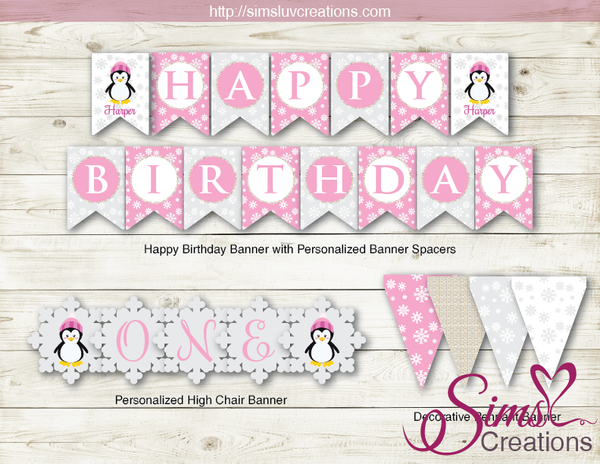 WINTER ONEDERLAND PARTY DECORATION SUPPLIES | PENGUIN PARTY PRINTABLES