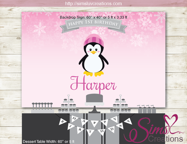 WINTER ONEDERLAND PRINTABLE BACKDROP BANNER | PENGUIN BIRTHDAY POSTER