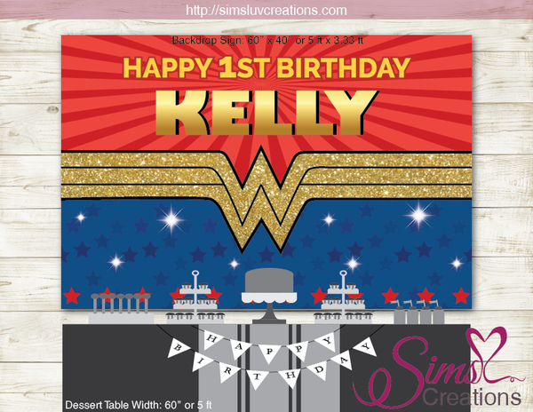 WONDER WOMAN PRINTABLE BACKDROP BANNER | WONDER GIRL DIGITAL BIRTHDAY BACKDROP
