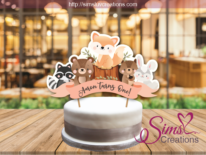 WOODLANDS ANIMALS CAKE TOPPER | CAKE CENTERPIECE | CAKE DECORATIONS