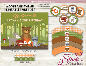 WOODLAND ANIMALS THEME PARTY PRINTABLE KIT | WOODLANDS PARTY PRINTABLES