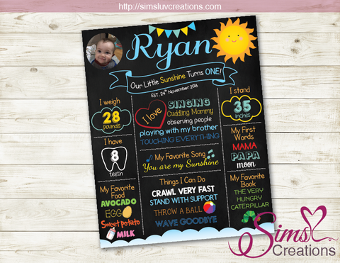YOU ARE MY SUNSHINE MILESTONE BOARD | SUNSHINE BOY BIRTHDAY CHALKBOARD POSTER