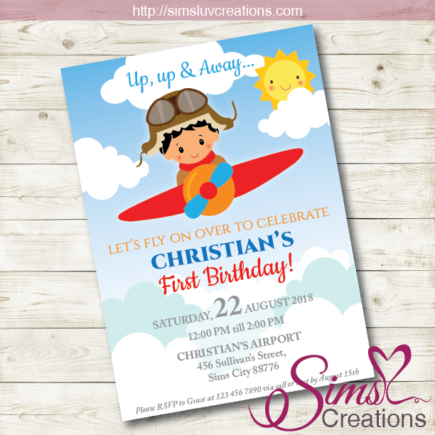 AIRPLANE BIRTHDAY INVITATION | AVIATOR PARTY INVITATION | CUSTOM PHOTO