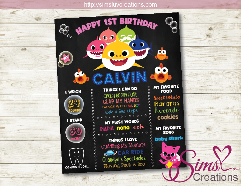 BABY SHARK MILESTONE BOARD | SHARK BIRTHDAY CHALKBOARD POSTER