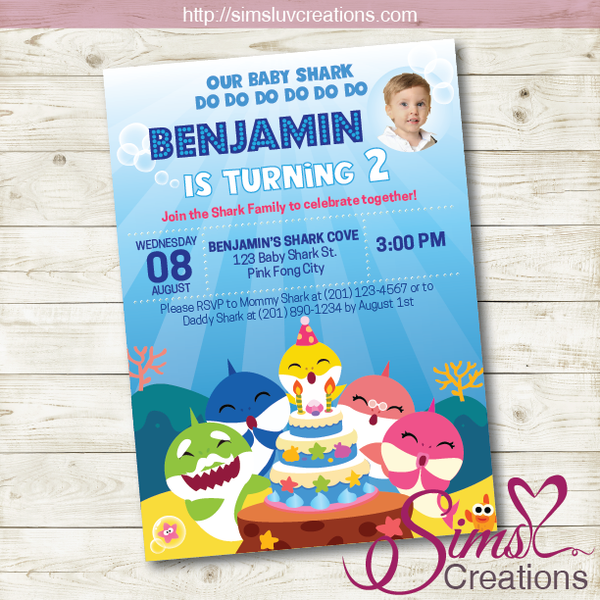 BABY SHARK BIRTHDAY PRINTABLE INVITATION | BABY SHARK PARTY INVITATION