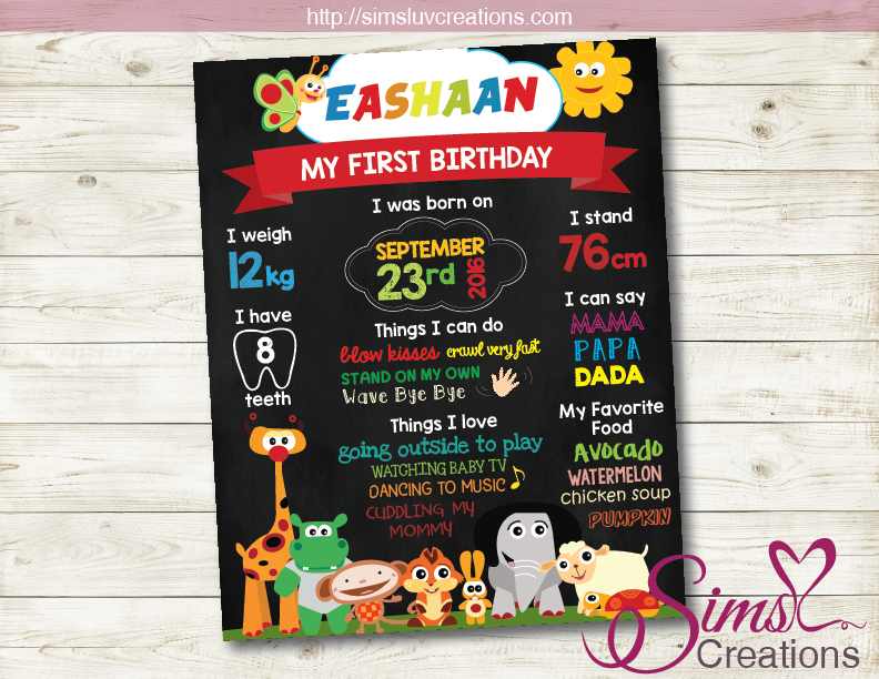 BABY TV THEME MILESTONE BOARD | BABY TV BIRTHDAY CHALKBOARD POSTER