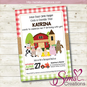 BARNYARD BIRTHDAY PRINTABLE INVITATION | FARM PARTY INVITATION