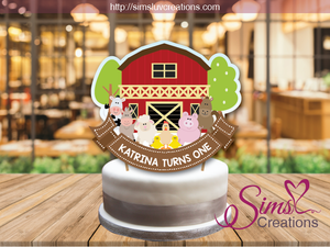 BARNYARD FARM ANIMALS CAKE TOPPER | CAKE CENTERPIECE | CAKE DECORATIONS