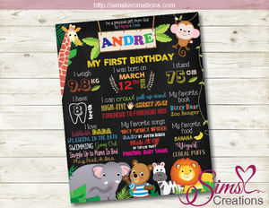 BIZZY BEAR ZOO RANGER THEME MILESTONE BOARD | SAFARI BIRTHDAY CHALKBOARD POSTER