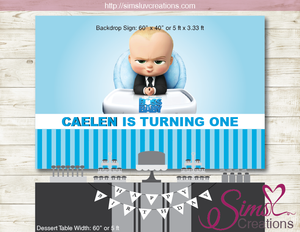 image about Boss Baby Printable known as Manager Youngster PRINTABLE BIRTHDAY BACKDROP BANNER Personalized Image