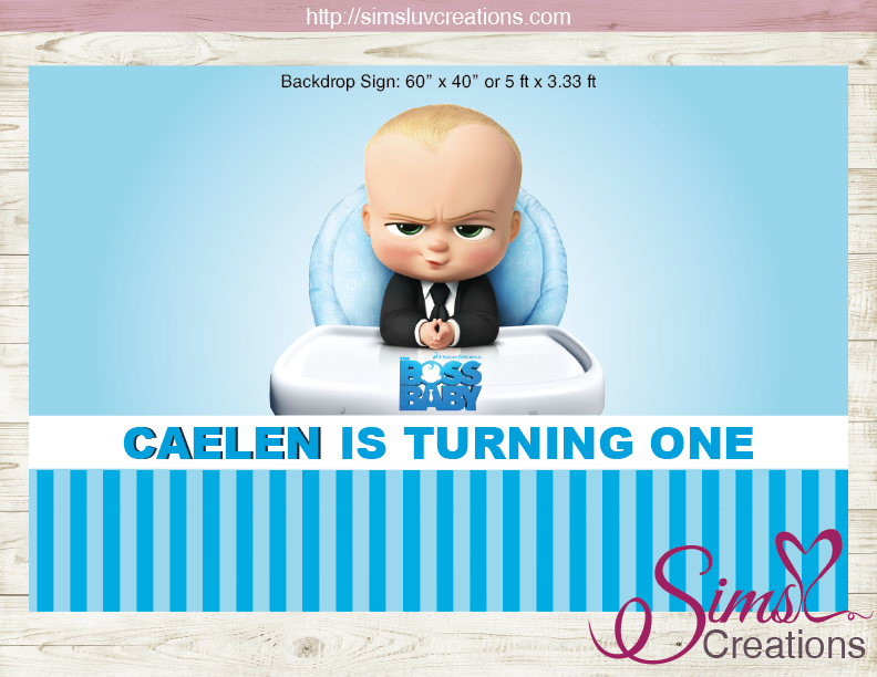 photograph relating to Boss Baby Printable named Manager Child PRINTABLE BIRTHDAY BACKDROP BANNER Tailor made Photograph