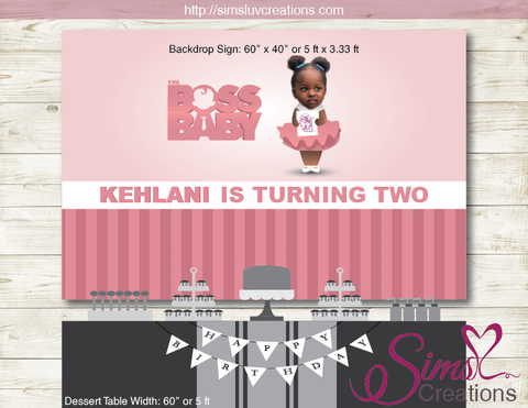 BOSS BABY STACI PRINTABLE BIRTHDAY BACKDROP BANNER | PINK BOSS BABY GIRL PARTY BACKDROP | CUSTOM PHOTO
