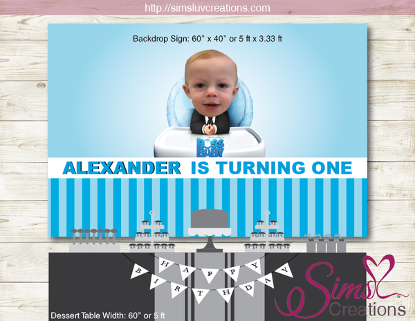 BOSS BABY PRINTABLE BIRTHDAY BACKDROP BANNER | CUSTOM PHOTO