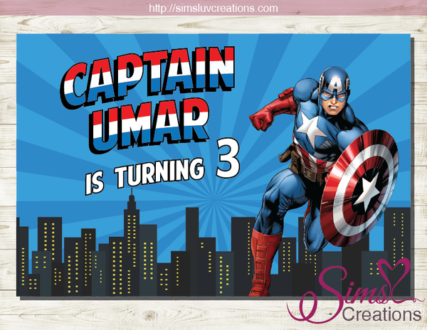 CAPTAIN AMERICA PARTY BACKDROP BANNER | AVENGERS BIRTHDAY BACKDROP | CUSTOM PHOTO
