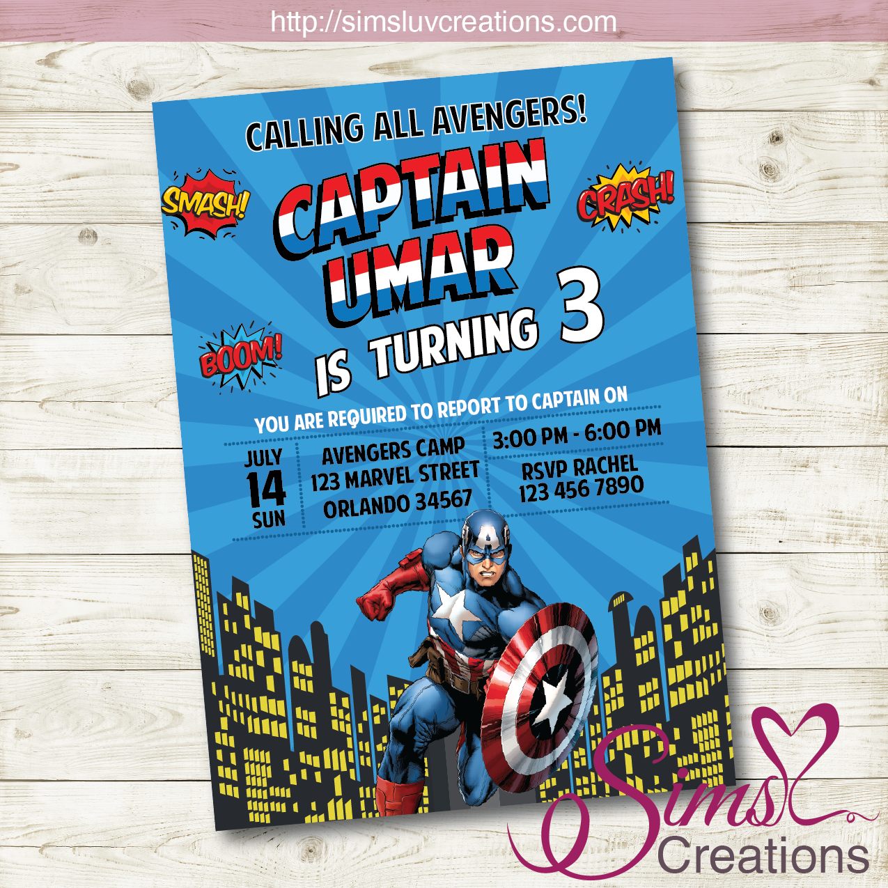 CAPTAIN AMERICA BIRTHDAY PRINTABLE INVITATION | MARVEL AVENGERS SUPERHERO PARTY INVITATION | CUSTOM PHOTO