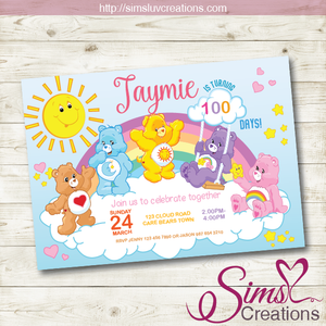 CARE BEARS BIRTHDAY PRINTABLE INVITATION | CAREBEARS PARTY INVITATION