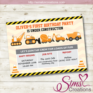 CONSTRUCTION BIRTHDAY INVITATION | CONSTRUCTION PARTY INVITATION