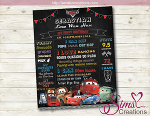 DISNEY CARS THEME MILESTONE BOARD | DISNEY CARS BIRTHDAY CHALKBOARD POSTER