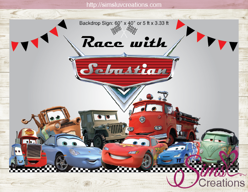 disney cars party backdrop banner cars birthday poster sims luv