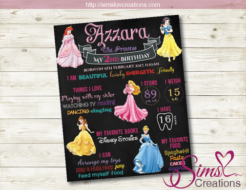 DISNEY PRINCESS MILESTONE BOARD | ROYAL BIRTHDAY CHALKBOARD POSTER