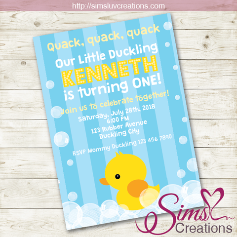 RUBBER YELLOW DUCK BOY BIRTHDAY PRINTABLE INVITATION | LITTLE DUCKLING PARTY INVITATION | CUSTOM PHOTO