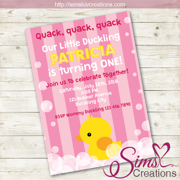 RUBBER YELLOW DUCK GIRL BIRTHDAY PRINTABLE INVITATION | LITTLE DUCKLING PARTY INVITATION | CUSTOM PHOTO