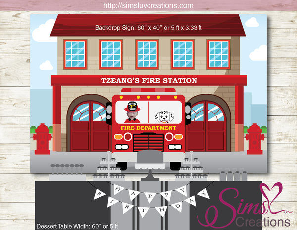 FIRE TRUCK / FIRE STATION PRINTABLE BIRTHDAY BACKDROP BANNER | CUSTOM PHOTO