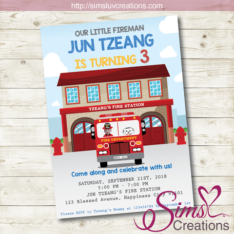 FIRE TRUCK BIRTHDAY INVITATION | FIREFIGHTER PARTY INVITATION | CUSTOM PHOTO