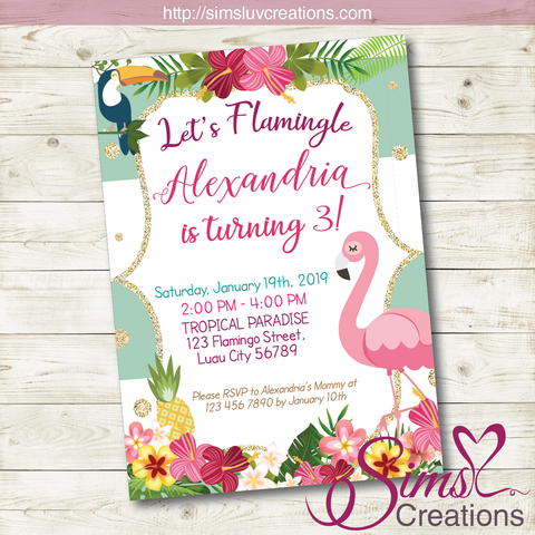 FLAMINGO BIRTHDAY PRINTABLE INVITATION | TROPICAL LUAU PARTY INVITATION